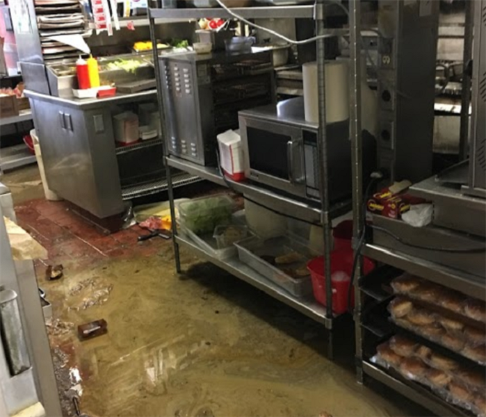 water damaged commercial kitchen